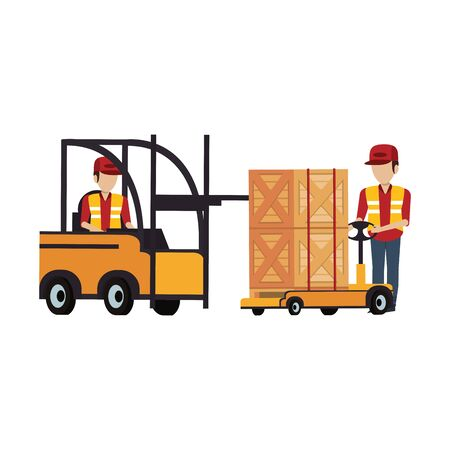 Warehouse workers driving forklift and boxes on handtruck vector illustration
