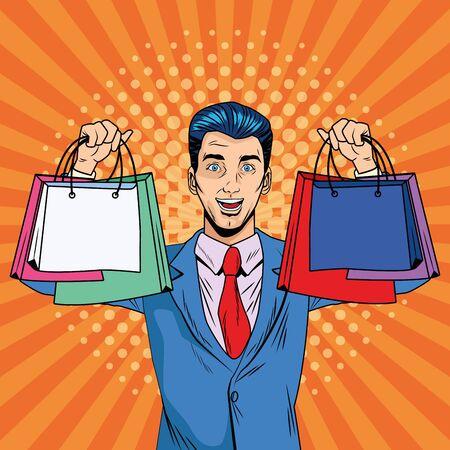 elegant businessman with shopping bags pop art style vector illustration design
