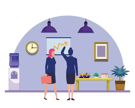 business business people businesswoman back view pointing a data chart and businesswoman carrying a briefcase avatar cartoon character indoor with hanging lamps, water dispenser, plant pot and little table vector illustration graphic design