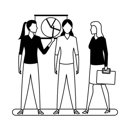 business business people businesswoman holding a wand pointing a data chart and businesswoman carrying a briefcase avatar cartoon character in black and white