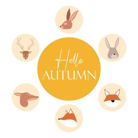 bundle of autumn season animals vector illustration design