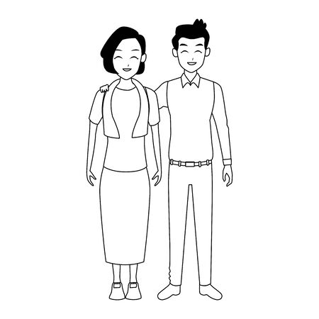 happy adult couple standing icon over white background, vector illustration Çizim