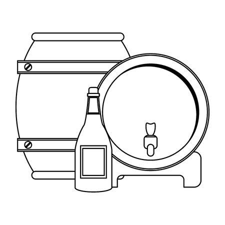wine wooden barrel with wine bottle over white background, vector illustration Foto de archivo - 134809140