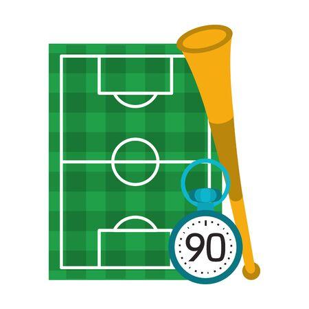 Soccer playfield with horn and timer symbols vector illustration graphic design Foto de archivo - 134771728