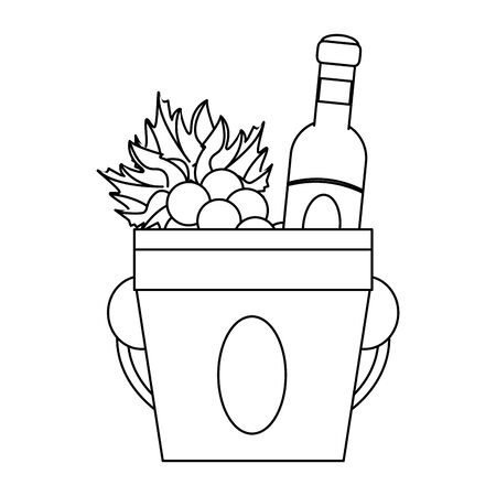 ice bucket with wine bottle and bunch of grapes over white background, vector illustration Foto de archivo - 134809143