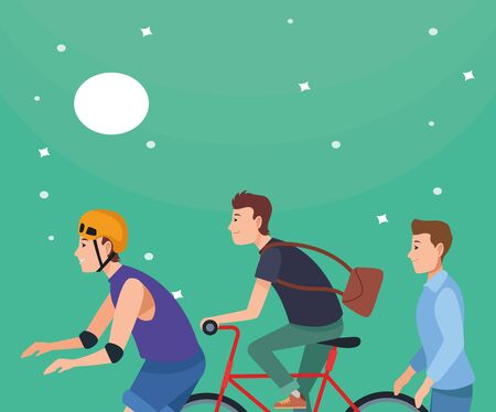 Young people riding on bikes, electric scooter and skates with accesories at night with moon and stars ,vector illustration graphic design. Illusztráció