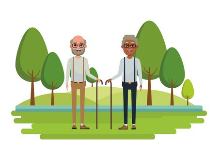 elderly people avatar afroamerican old man with glasses and cane and old man with beard, glasses and cane profile picture cartoon character portrait over the grass with trees vector illustration graphic design Иллюстрация