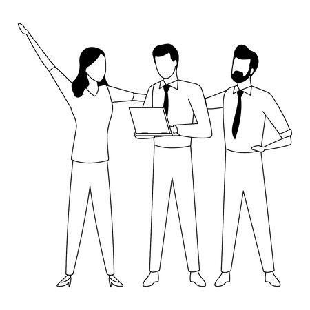 three businesspartners working with laptop in black and white isolated faceless avatar vector illustration graphic design