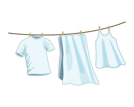 laundry wash and cleaning hanging clothes icon cartoon vector illustration graphic design