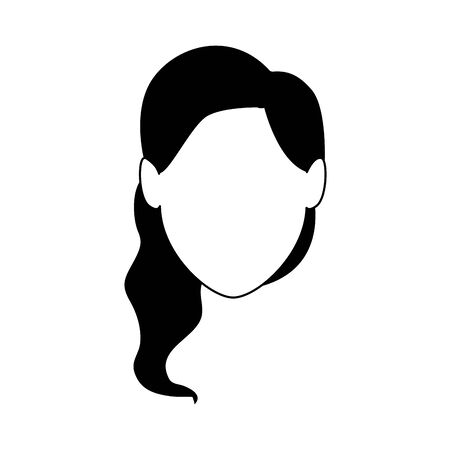 avatar woman face icon over white background, flat design. vector illustration
