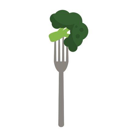 fork with broccoli icon cartoon vector illustration graphic design Illustration