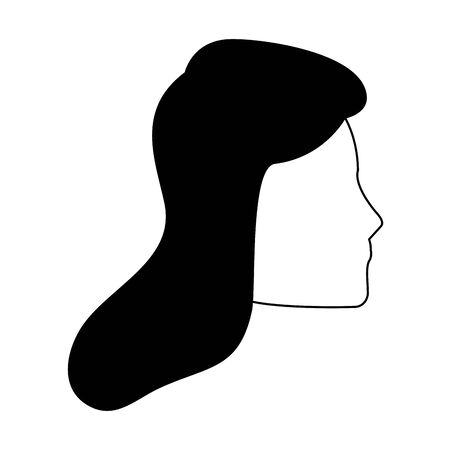 profile of avatar woman face icon over white background, vector illustration Archivio Fotografico - 134810439