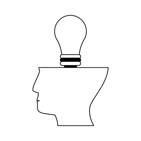 Head with bulb light symbol vector illustration graphic design