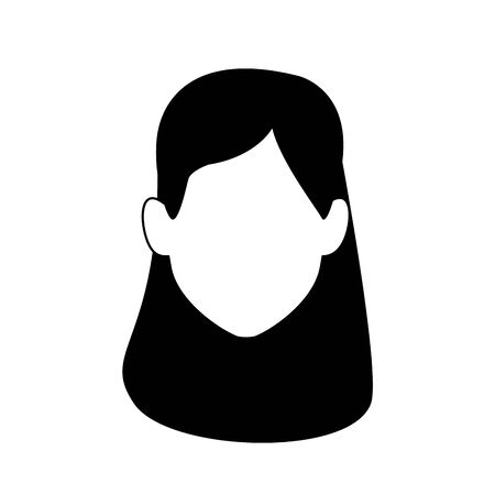 avatar woman with headband icon over white background, vector illustration