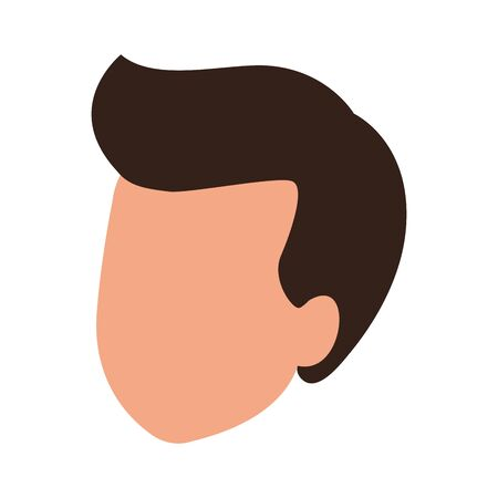 avatar man head icon over white background, vector illustration