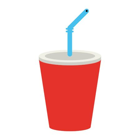 Soda cup with straw cartoon vector illustration graphic design