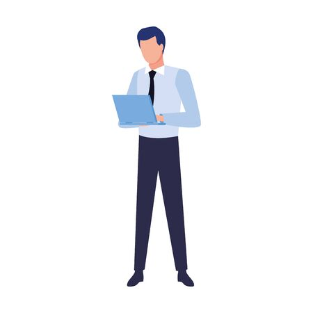 avatar businessman with laptop computer over white background, vector illustration