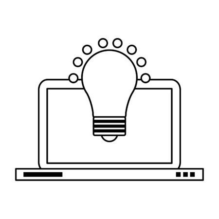Laptop computer and bulb light idea symbol vector illustration graphic design Illusztráció