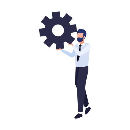 avatar businessman holding a gear wheel icon over white background, vector illustration