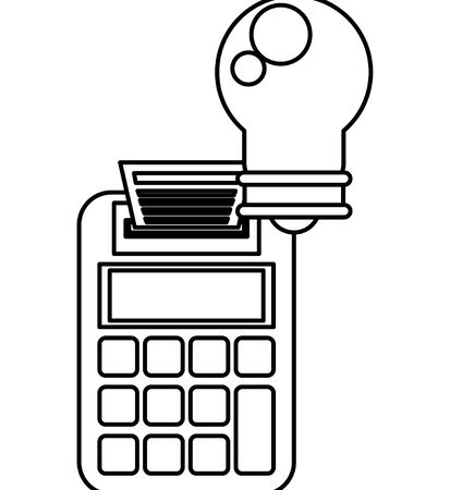 bulb light energy with calculator vector illustration design Ilustração