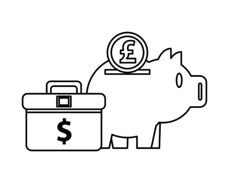 piggy savings money with portfolio and sterling pound vector illustration design 向量圖像