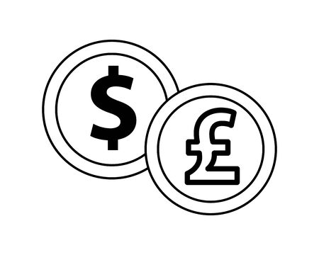 dollar and sterling pound coins icons vector illustration design Çizim