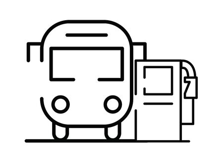 fuel oil station service with bus vector illustration design
