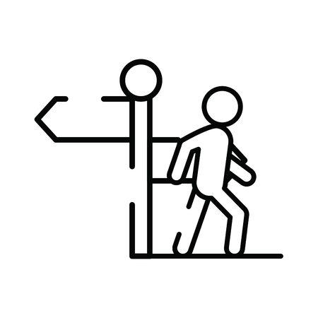 pedestrian silhouette walker with traffic signal vector illustration design