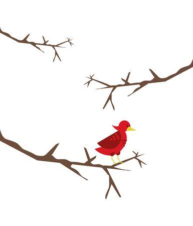 cute little bird in tree dry branch vector illustration design Stock Illustratie