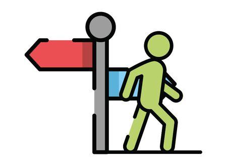 pedestrian silhouette walker with arrow vector illustration design Ilustração