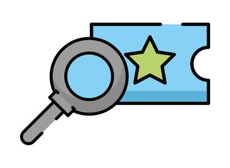 magnifying glass search with ticket vector illustration design