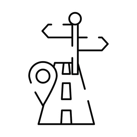 pin pointer location guide with road vector illustration design Ilustração