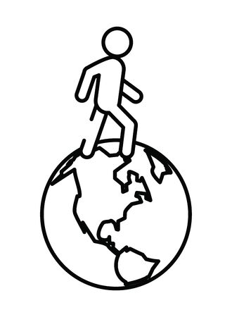 pedestrian silhouette walking with planet earth vector illustration design