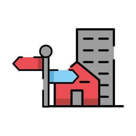 traffic arrow signal with buildings vector illustration design