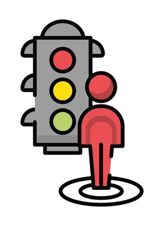 pedestrian silhouette walker with semaphore vector illustration design Ilustração