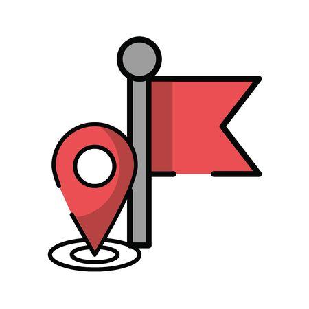 pin pointer location guide with flag vector illustration design Ilustração
