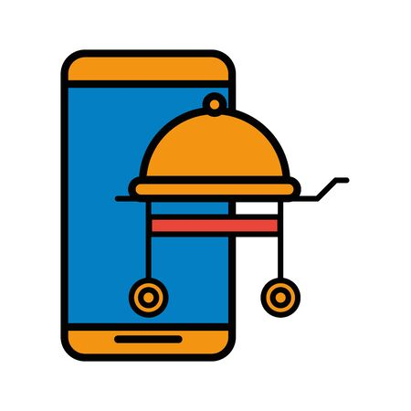 smartphone device with grill oven vector illustration design