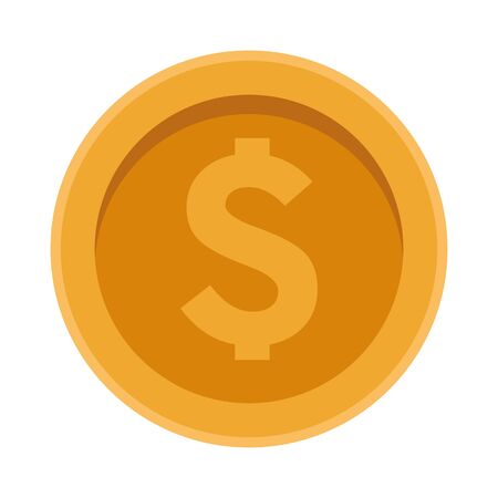 money coin icon over white background, vector illustration 向量圖像