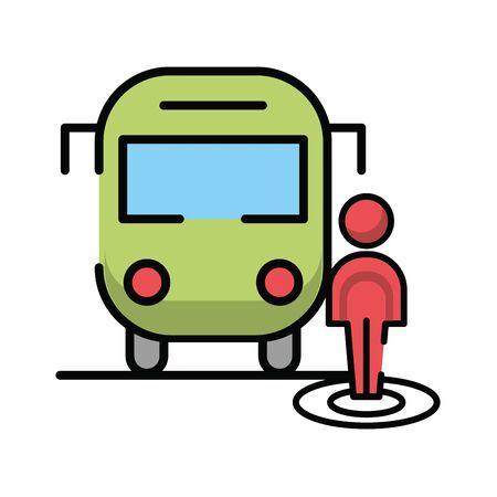pedestrian silhouette walker with bus vector illustration design