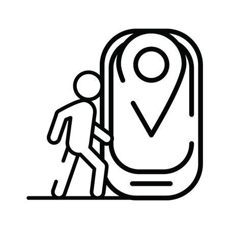 pedestrian silhouette walking with smartphone vector illustration design