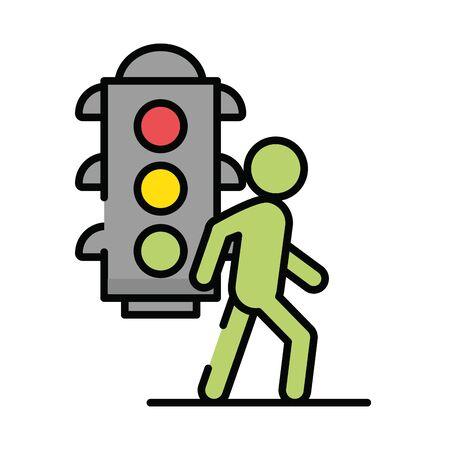 pedestrian silhouette walking with semaphore vector illustration design Ilustração