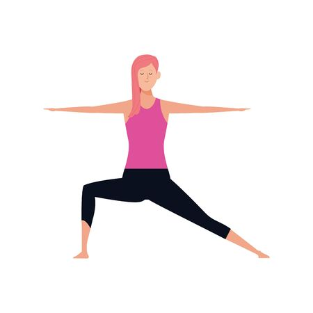 woman practicing yoga pose icon over white background, colorful design , vector illustration