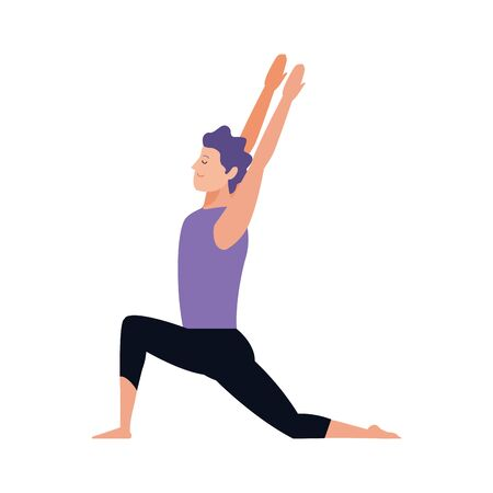 young man practicing yoga icon over white background, vector illustration 일러스트