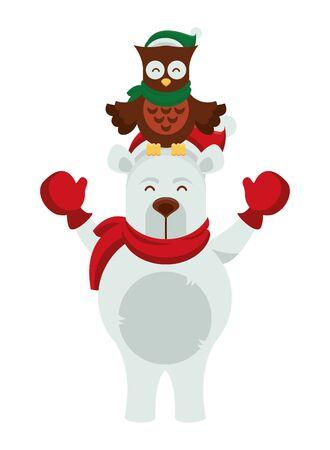 cute polar bear with owl characters vector illustration design
