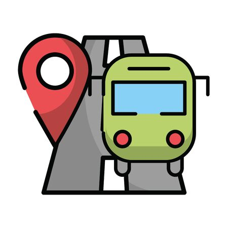 pin pointer location guide with road and bus vector illustration design Ilustração