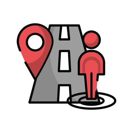 pin pointer location guide with road and pedestrian vector illustration design Ilustração