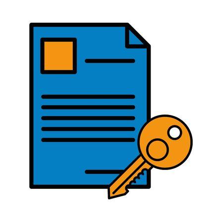 key house door with document vector illustration design