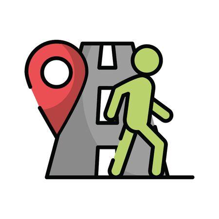 pedestrian silhouette walker in road vector illustration design Ilustração