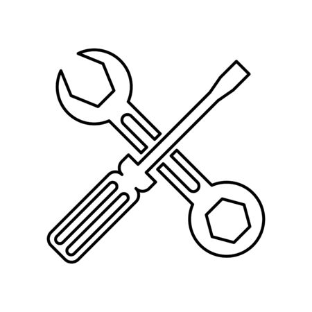 screwdriver and wrench repair tools vector illustration design