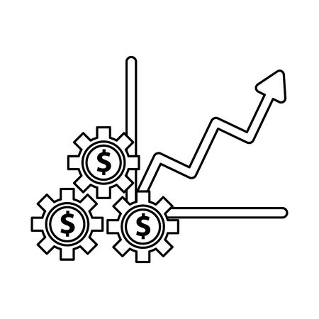 financial statistics graphic with gears dollars vector illustration design 向量圖像